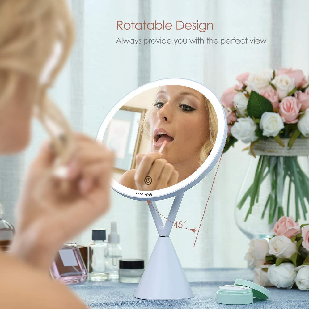 LANGSTAR Espejo de maquillaje LED con luz, espejo de maquillaje de 21 cm de diámetro Espejo de maquillaje con iluminación sin deslumbramiento: Amazon.es: Juguetes y juegos