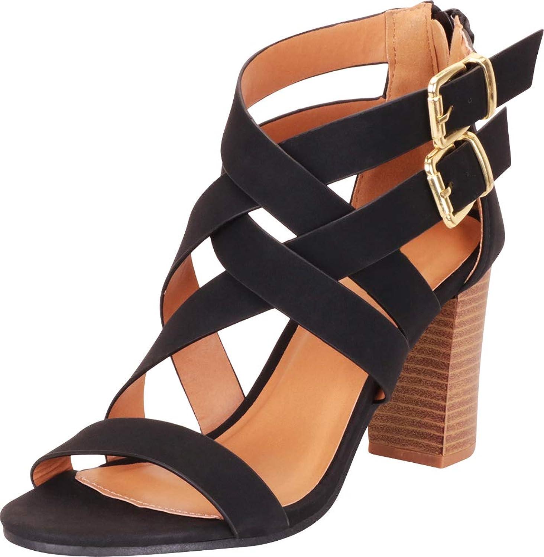 Cambridge Select Women's Open Toe Crisscross Lattice Chunky Stacked Block Heel Sandal