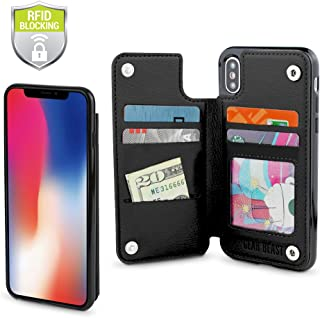 Gear Beast Top Grain Genuine Leather Protective Top View Slim Wallet Case Fits iPhone Xs/X Includes RFID Protection, Flip Folio Cover, with Five Card Slots Including Transparent ID Holder