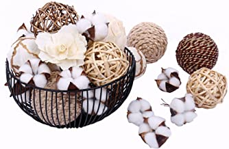 Bag of Assorted Decorative Spherical Natural Woven Twig Rattan and Cotton Bowl and Vase Filler, Balls Spheres Orbs Filler - Brown and White (Brown2)