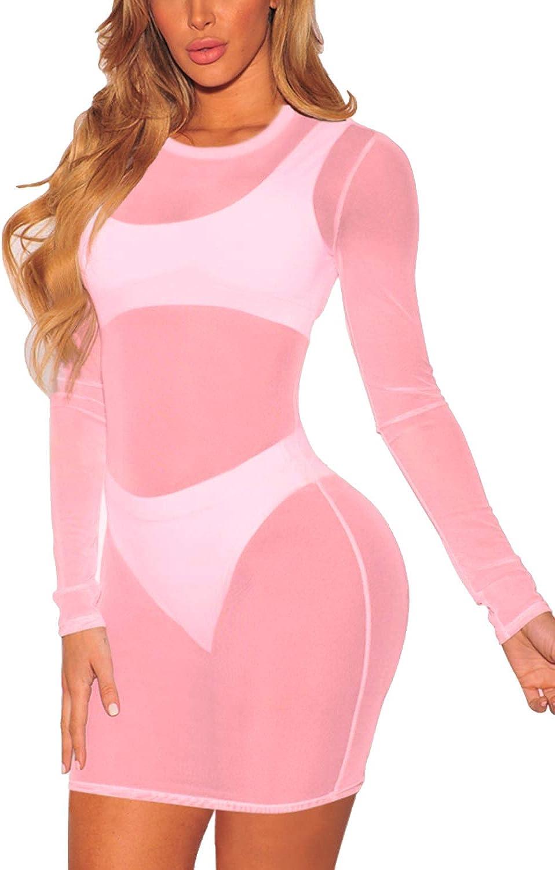 Jumppmile Women's Sheer Mesh Long Sleeve See Through Swimwear Bikini Cover Up Dress