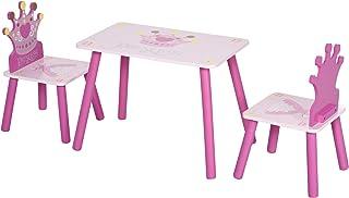 Ensemble table et chaises enfant design princesse motif couronne bois pin MDF rose