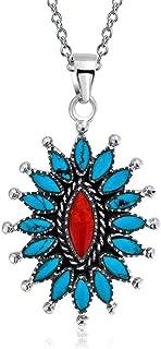 Bling Jewelry Southwestern Stile Navajo Tinto Corallo Turchese Stabilizzato Squash Blossom Collana Pendente per Donne