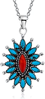 Southwestern Navajo Style Dyed Coral Stabilized Turquoise Squash Blossom Pendant Necklace For Women