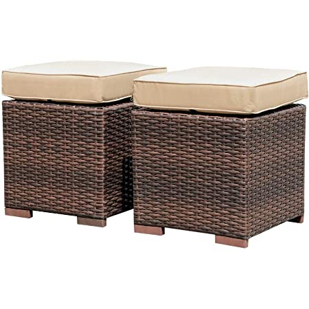 Patiorama 2 Pieces Assembled Outdoor Patio Ottoman, Indoor Outdoor All-Weather Dark Brown Wicker Rattan Outdoor Footstool Footrest Seat with Beige Cushions, No Assembly Required