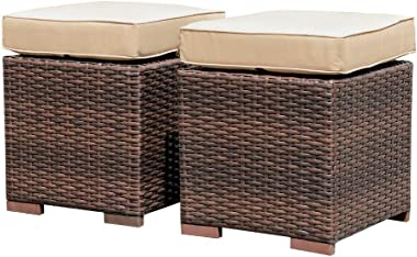 Patiorama 2 Pieces Assembled Outdoor Patio Ottoman, Indoor Outdoor All-Weather Dark Brown Wicker Rattan Outdoor Footstool Foo