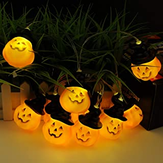 TOOWELL Halloween String Lights Jack-O-Lantern Pumpkin Lights Battery Operated 10LED 6.9ft Halloween Decorations Warm White for Outdoor Indoor Party Camping Decor Mantel Porch Front Path Garden Yard