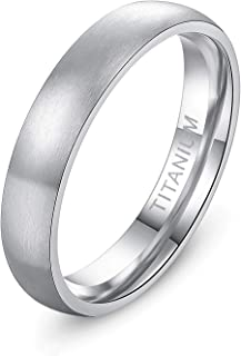 4mm 6mm 8mm Titanium Ring Brushed Dome Wedding Band Comfort Fit Size 4-14.5