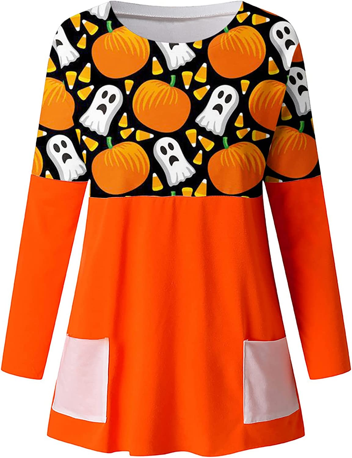 Women Tunic Tops Pumpkin Halloween Printed Long Sleeve O-Neck Pocket Loose Blouses Daily Casual Comfy Soft Pullover