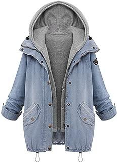 TIMEMEANS Fashion Women Jacket Coat Winter Warm Collar Hooded Denim Trench Parka Outwear Two Piece Coat M-7XL