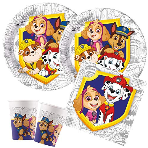 Procos 10136149B – Kinderpartyset Paw Patrol, Yelp For Action Set, kompostierbar, Teller, Becher, Servietten, Tischdeko, Kindergeburtstag, Grillparty, Motto Party