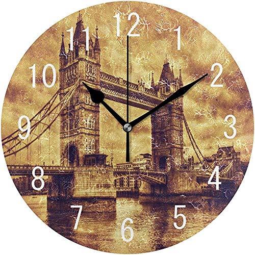 Cl353ll Vintage Tower Bridge in London England Runde Holz-Wanduhr für Wohnzimmer, Küche, Schlafzimmer, Büro, Schule