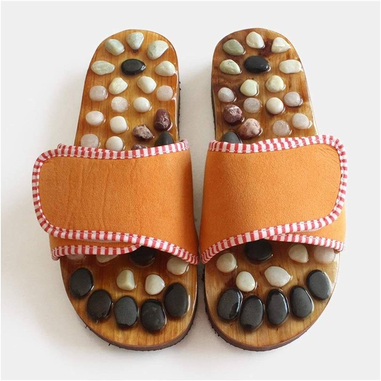 Shower Slippers, Men's and Women's Health Massage shoes, Pebbles Pedicure Body   Comfortable Suede   EVA Plastic   Velcro Design (color   orange, Size   45eu)