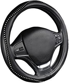 AUTOYOUTH Steering Wheel Cover, Crystal Studded Rhinestone Bling Styling for Car, SUV, Truck Heavy Duty, Anti-Slip, Excellent Grip Standard Size 15 inch