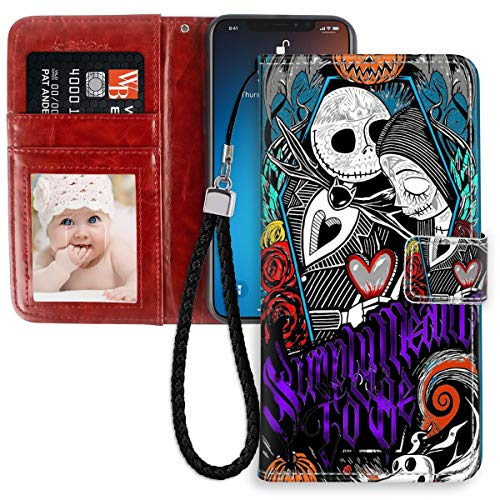 DISNEY COLLECTION Wallet Case Compatible for iPhone 11 (2019) (6.1-Inch) Jack Skellington Nightmare Before Christmas Sally Halloween Simply Meant to Be Leather