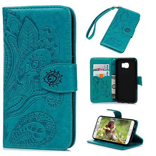 Badalink Galaxy S6 Case, Samsung Galaxy S6 Case - Wallet Flip Stand Case Embossed Plants PU Leather Case Shockproof Soft TPU Inner Bumper Slim Protective Card Slots Wrist Strap Cover Blue
