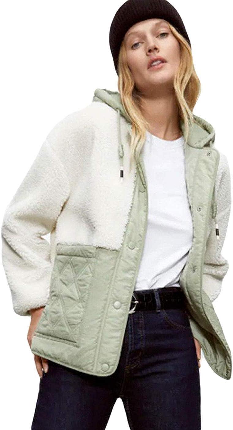 CHARTOU Women's Winter Sherpa Fleece Patchwork Quilted Jacket Diamond Hooded Outwear
