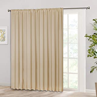RYB HOME Sliding Door Curtain Drapery, Rod Pocket & Back Tab Top, Room Darkening Shade for Bedroom/Kitchen/Living Room, Outdoor Indoor Privacy Window Curtains 100 x 84 inch, Biscotti Beige