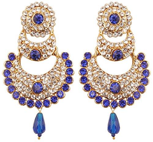 Touchstone Weiße indische Bollywood-Kristalle und künstliche blaue Saphir-Chaand-Bali-Mond-Designer-Schmuck-Kronleuchterohrringe für Damen Blau