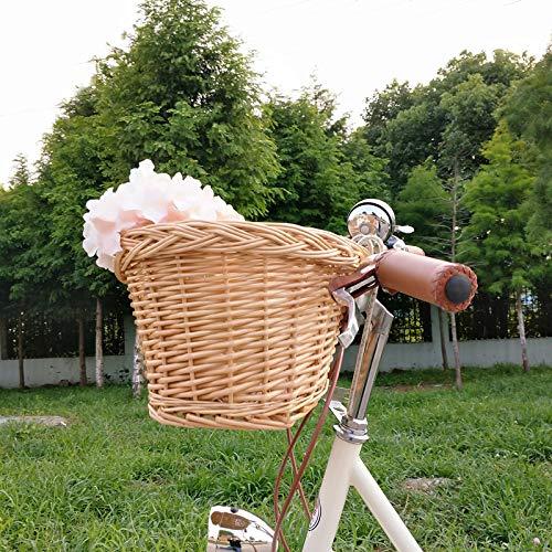 YABIN Fahrradkorb Vorne Rattan Hollandrad, Festmontage Fahrradkorb Kinder Fahrradsitz Puppe Mädchen,Abnehmbar Hundekorb Fahrrad Vorne, Groß Fahrrad Korb (1, M-23 * 18 * 15CM)