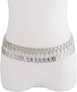 Belt Silver Metal Piercing Belt Boho Sexy Coin Waist Belly Body Chain Waist Chain Body Jewelry, Adjustable Fashion Belt (Color : Silver, Size : Free Size)