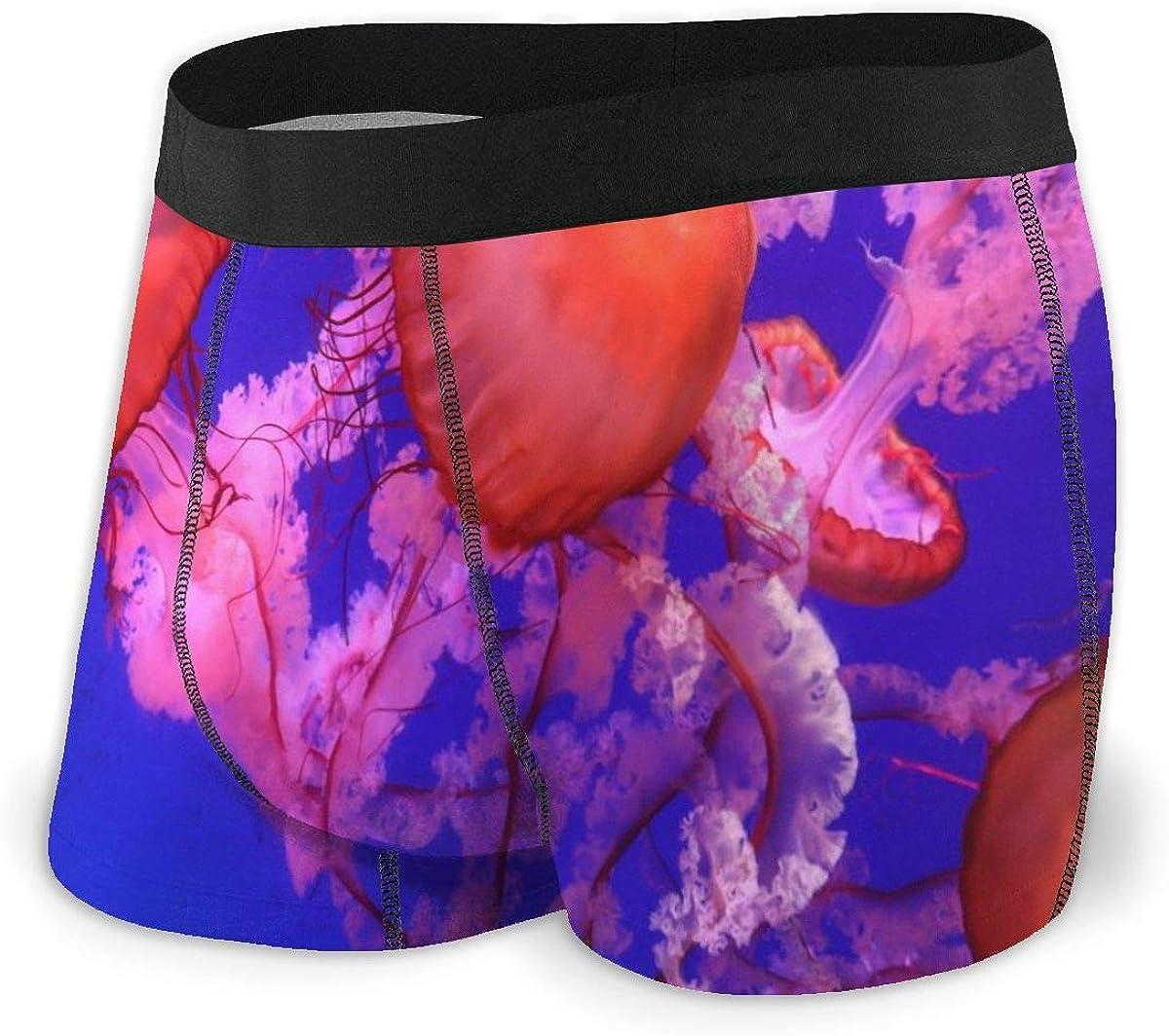 Randolph Wordsworth Mens Boxer Briefs Orange Jellyfish Beautiful Dark Blue Breathable Underwear