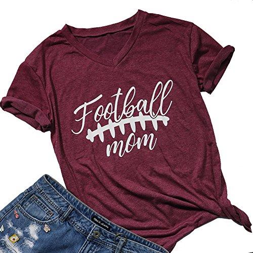 Women's Football Mom T-Shirt Summer Short Sleeve V Neck...
