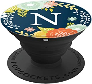First & Last Initial Letter N Floral Wreath Monogram AAN040 - PopSockets Grip and Stand for Phones and Tablets