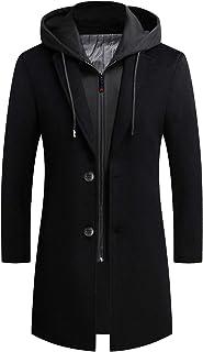 iCKER Men's Wool Woolen Coat Long Trench Coat Winter Casual Jacket Slim Fit Overcoat