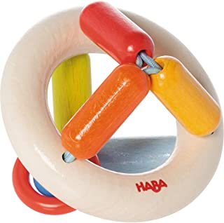 HABA Clutching Toy Rainbow Round Maple Wood Manipulative Rattle & Teether (Made in Germany)
