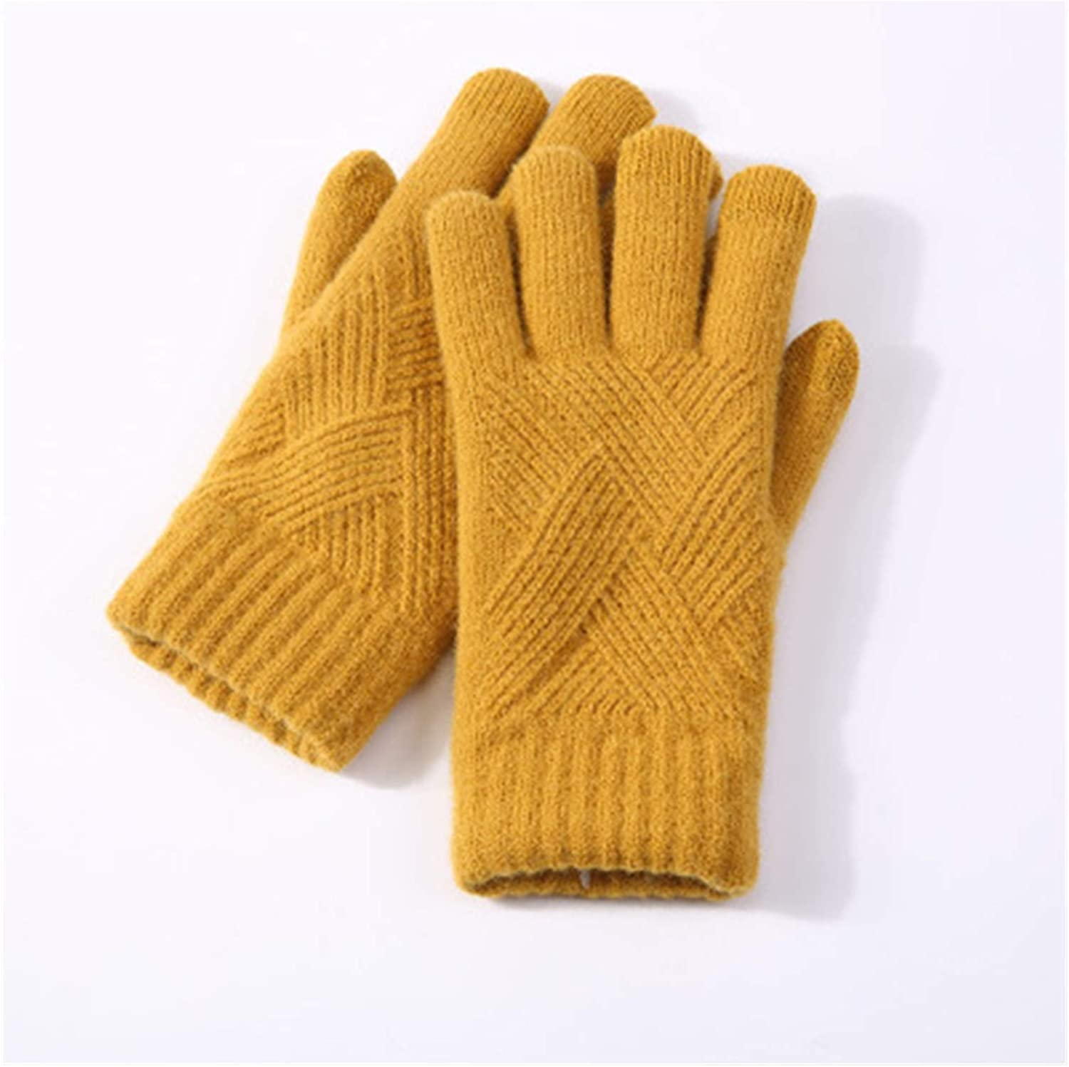 Lace Gloves Female Winter Warm Knitted Full Finger Gloves Men Solid Wool Touchscreen Gloves Women Thick Warm Cycling Driving Gloves (Farbe : Yellow)
