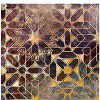 キャンバスのポスターとプリント壁アート油絵リビングルームの装飾のための抽象的な黄金の幾何学写真-80x80cmx1フレームなし
