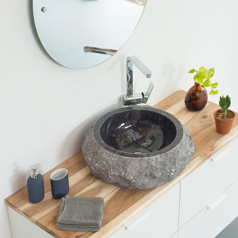 Wohnfreuden Marmor Waschbecken 45 cm schwarz  Naturstein Waschschale Handwaschbecken rund gehmmert für Bad Gste WC  schnell