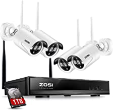 ZOSI 4PC Megapixel 720P Wireless IP Camera System 100ft (30m) Night vision with 4 Channel Security HD Network IP NVR Wifi Kit Support Smartphone Remote view with 1TB Hard Drive (Renewed)