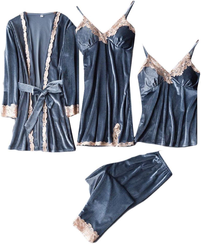 Ruhuao Women's Velvet LongSleeve Sexy Four Piece Robe Pajama Set Pj