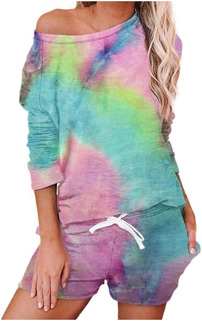 Tie Dye Pajamas Set for Women,Womens Pajamas Tie Dye Print Long Sleeve Shirt Elastic Shorts Pant PJ Set Loungewear