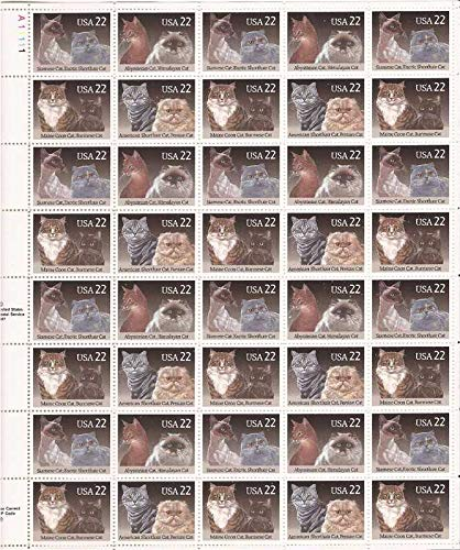 Cats Sheet of 40 x 22 Cent US Postage Stamps Scott 2372-75