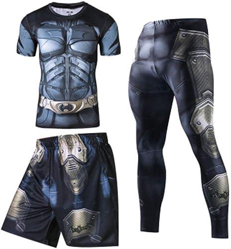 T-SHIRT BOY Set de Compression des Hommes, Impression en 3D Homme Chauve-Souris, Super héros Manche Longue Marvel Hero Collants pour Faire des Exercices, Avengers League Style 2-XXL