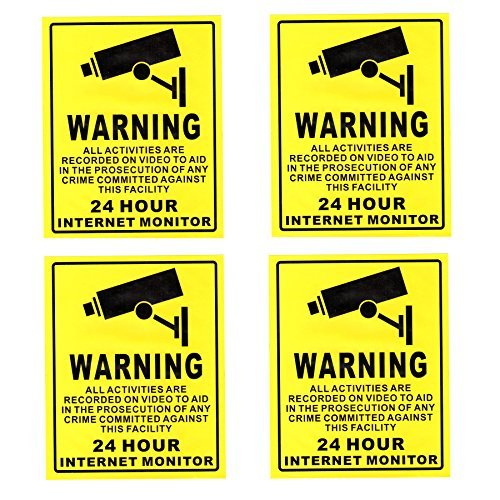 """Warning 24 hour Video Surveillance Security Stickers YELLOW Decals 4 PACK 5/"""""""