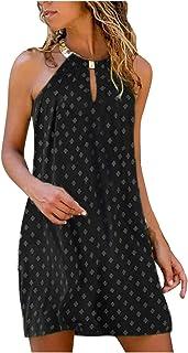 فستان للنساء برقبة معلقة معدنية بدون أكمام فساتين صيفية بدون ظهر فستان كاجوال للشاطئ فستان الشمس