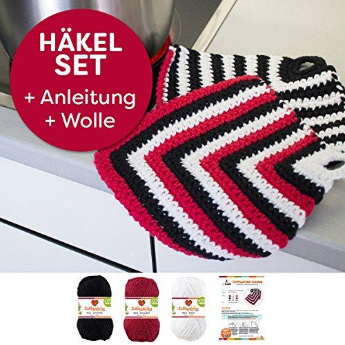 myboshi Häkel-Set Topflappen Tonami | aus No.2 | Anleitung + Wolle | mit passender Häkelnadel | Topflappen-Häkel-Set | Weiss Chillirot