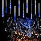 EEIEER 192 mini LED Eiszapfen Lichterkette sternschnuppe Licht für Außen balkon Garten Weihnachten Dekoration 8 StückTube 30 cm Blau - 7