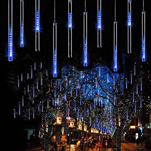 guaiboshi Falling Rain Drop Christmas Lights, LED Meteor Shower Lights Outdoor 11.8 inch 8 Tubes 192leds, Waterproof Icicle String Lights for Party Wedding Home Christmas Tree Decoration, Multi-Color