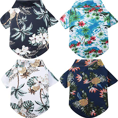4 Pieces Hawaiian Pet Shirts Beach Coconut Tree Print Dog T-Shirts Pet Summer Shirts Breathable Dog Apparels for Medium and Large Dogs (XL Size)