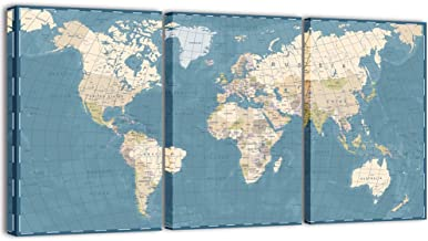 Visual Art Decor 3 Pieces XLarge Blue Retro World Map Canvas Prints Atlas Framed and Stretched Map Wall Art Decor for Travel Pin Marks Map Pictures Office Living Room Decoration (32
