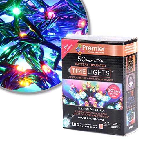 Premier Decorations Christmas Lights for Indoor and Outdoor Use, with Timer 50 LED's Multicoloured