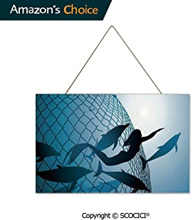 UHOO Wood Print Hanging Ornament Decoration with Jute Rope A Mermaid Rescues Flight of Dolphins from a Fishing Net Freedom Diver Hanging Sign 9.8x15.75 inch