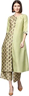 Ziyaa Women's Pista Green Digital Flared Polysilk Kurta With Palazzo / Salwar Suit Set