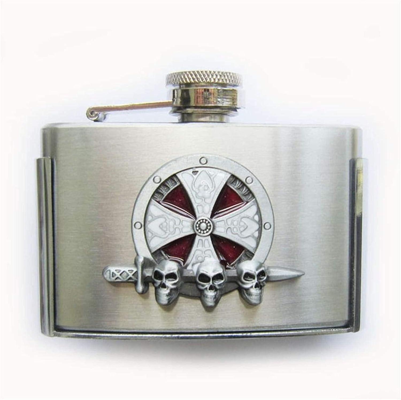 Belt Buckle Skull Totem 3oz Stainless Steel Flask BUCKLE-FL-3D04