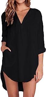 ZANZEA Bovenstuk voor dames, effen, lange mouwen, casual, oversized, elegant shirt, basic losse top